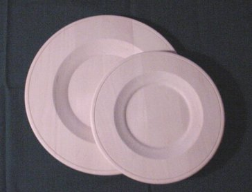 Basswood Charger Plates Two sizes Dessert Plate size 9 1/2 inch $14.00. Dinner Plate size 12 inch $18.00 & Basswood Charger Plates